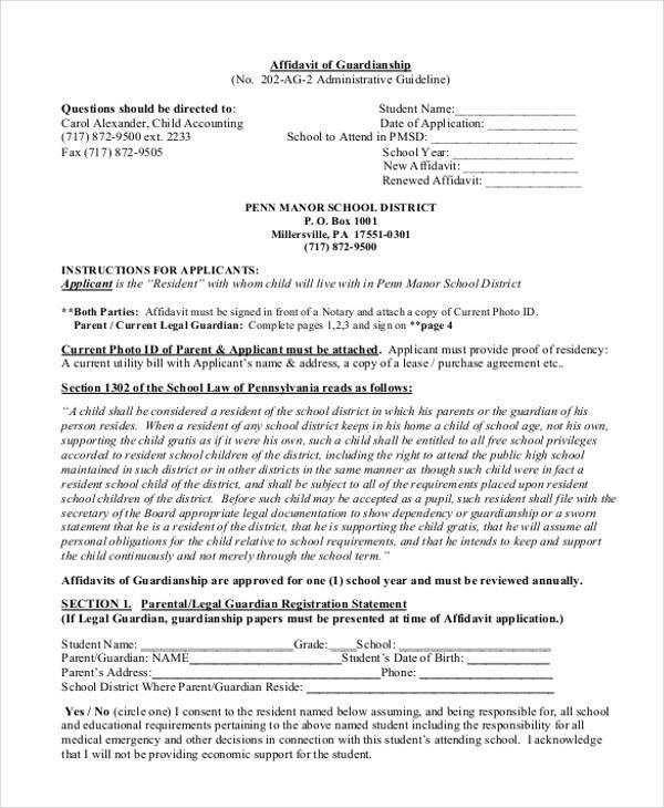 affidavit of guardianship form in pdf