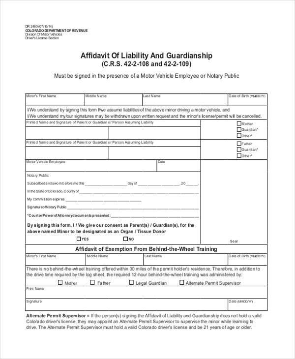 affidavit of liability and guardianship