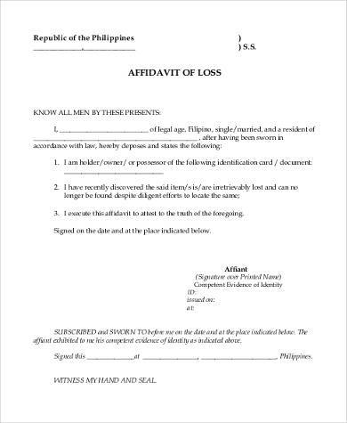 Affidavit Of Loss Blank Form