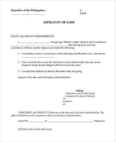affidavit of loss sample form