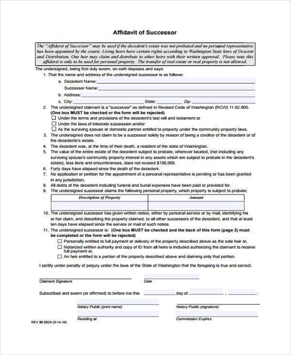 affidavit of successor sample