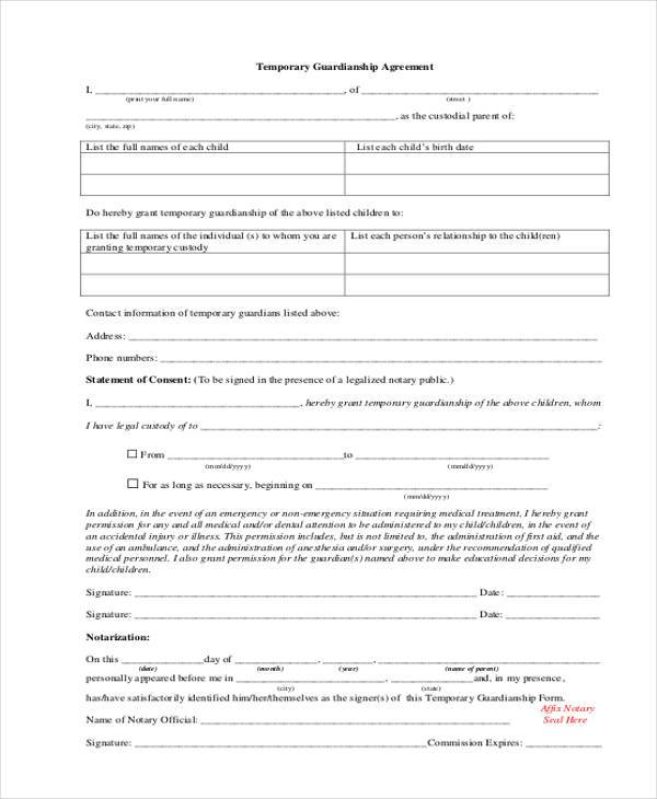 Sample Guardianship Affidavit Forms   Free Documents In Pdf