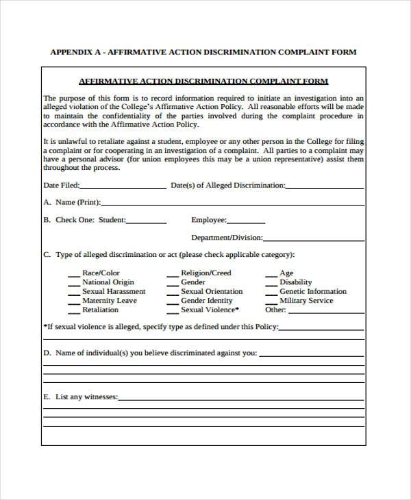 affirmative action discrimination complaint form