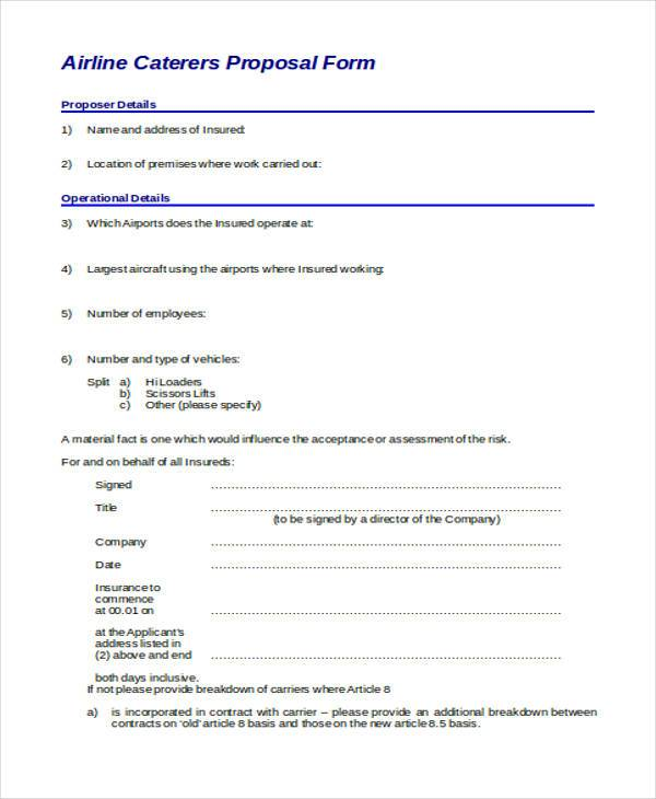 airline catering proposal form