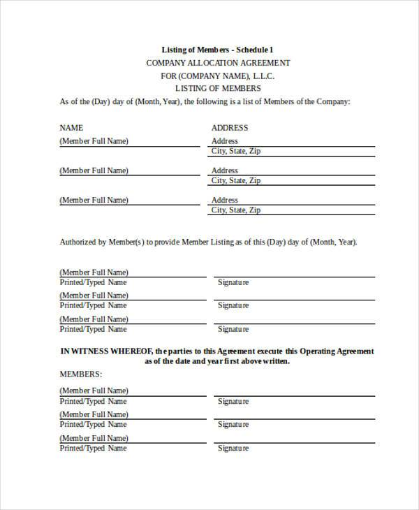 allocation agreement form in doc
