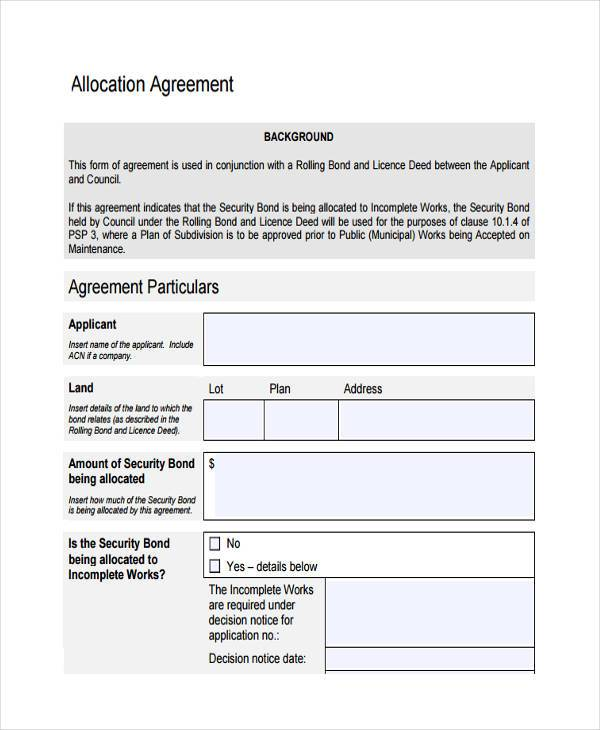 allocation agreement form in pdf