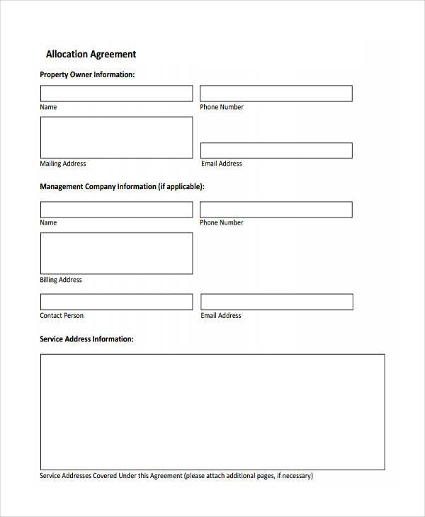 allocation agreement simple form