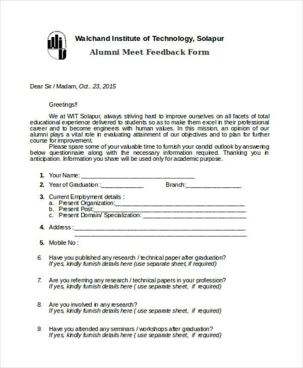 Feedback Form Formats – Orientation Feedback Form