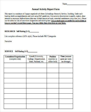 Sample Activity Report Forms - 8+ Free Documents In Word, Pdf