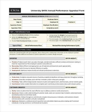 annual appraisal form example