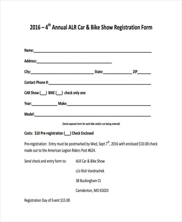 annual car show registration form