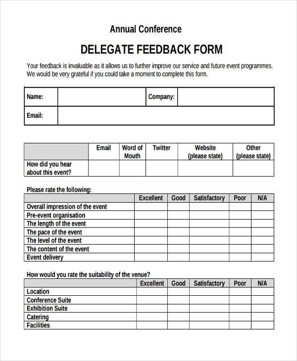 Sample Conference Feedback Forms   Free Documents In Word Pdf