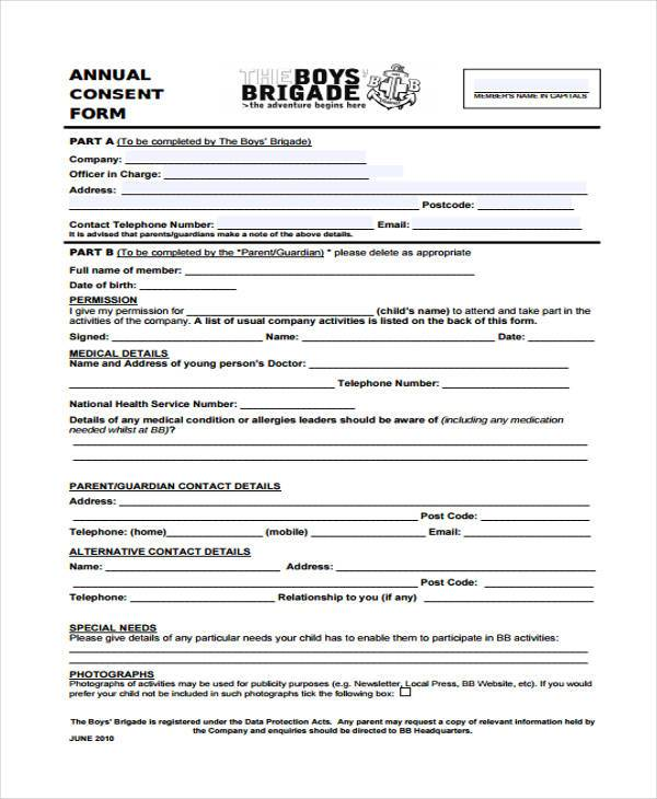 annual consent form in pdf