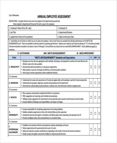 staff assessment form sample