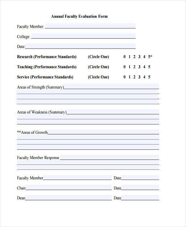 annual faculty evaluation form example