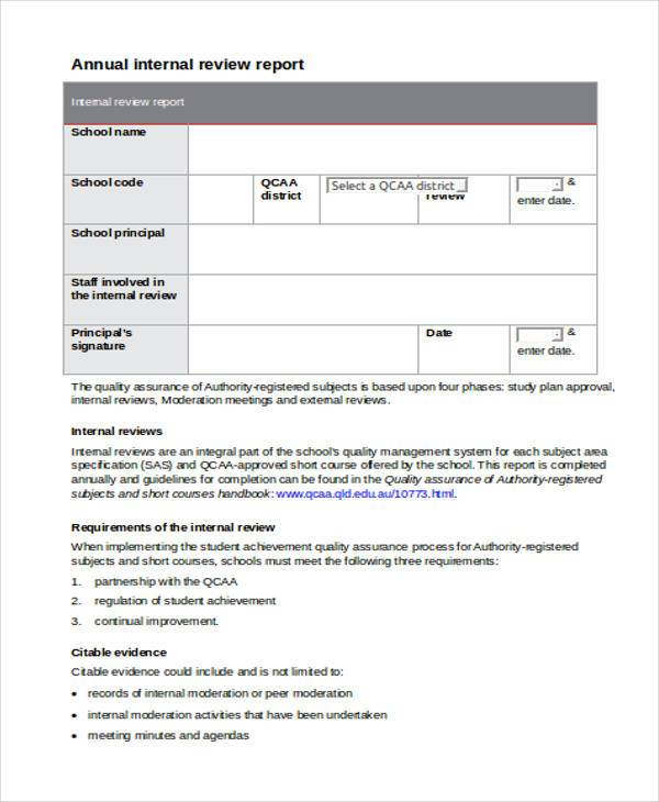 free 8  sample internal review forms in pdf