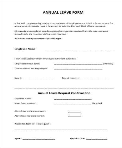 annual leave application form pdf