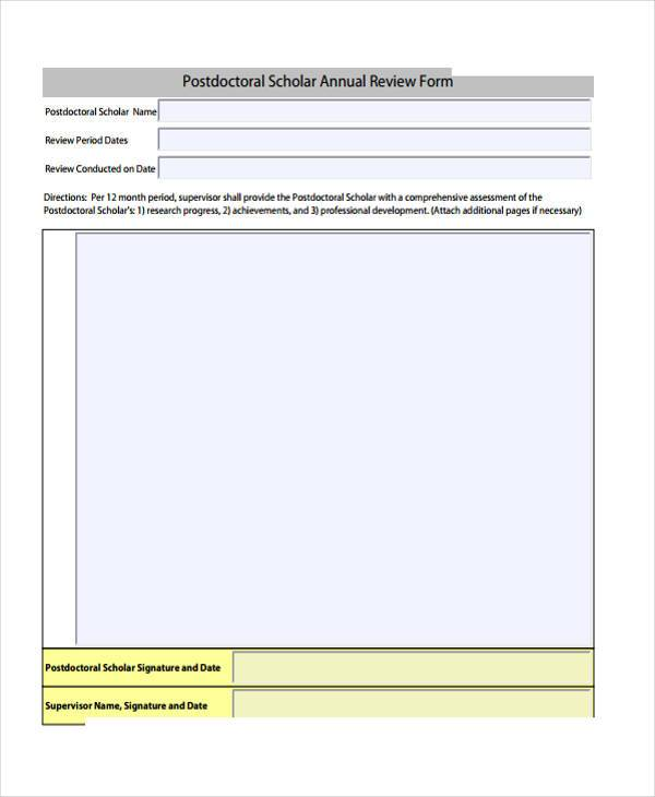 annual review form example