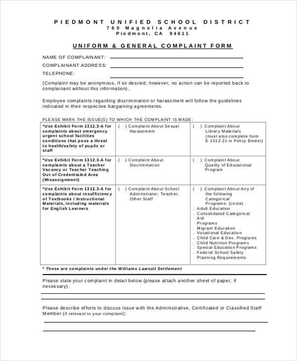 anonymous employee complaint form