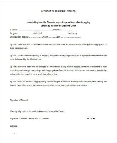 anti ragging affidavit by parent