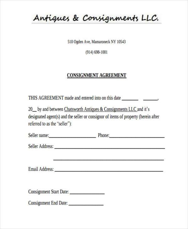 antique consignment agreement form sample