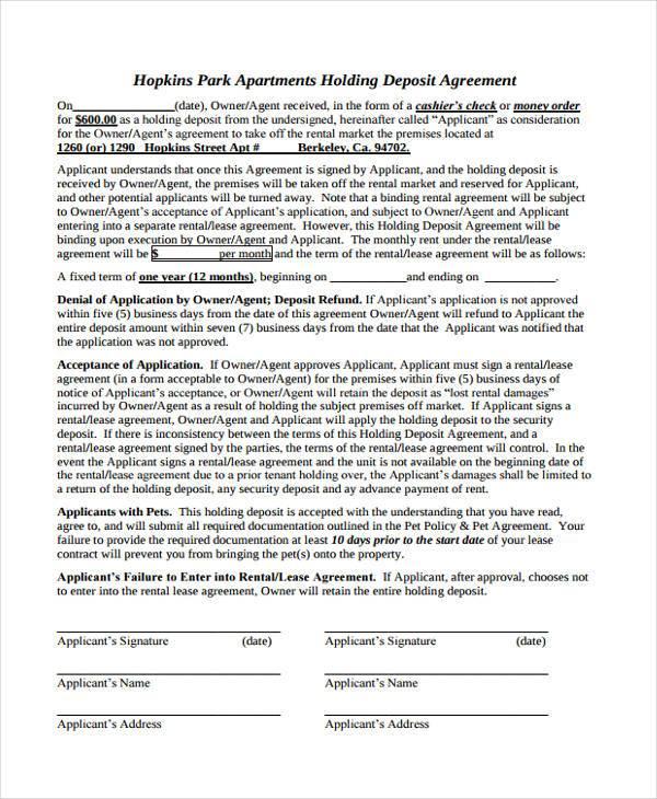 apartment holding deposit agreement form1