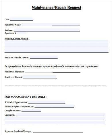 Maintenance Request Form Samples   Free Documents In Word Pdf
