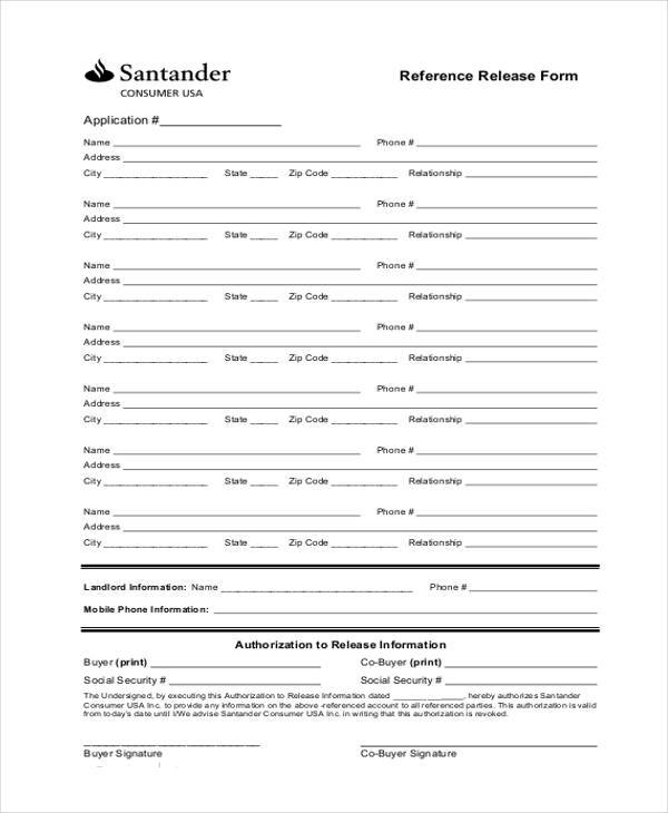 9 Reference Release form Samples Free Sample Example Format – Reference Release Form