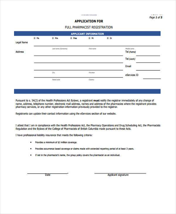 application for full pharmacist registration form