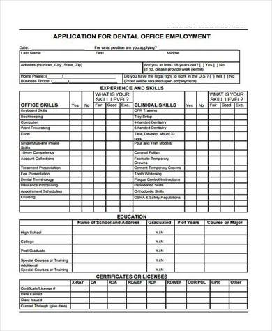 application form for dental office employment 390