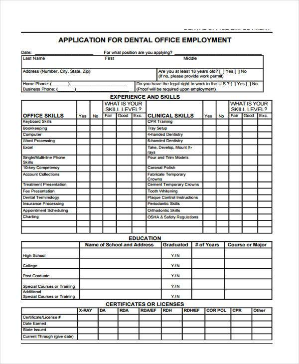 application form for dental office employment