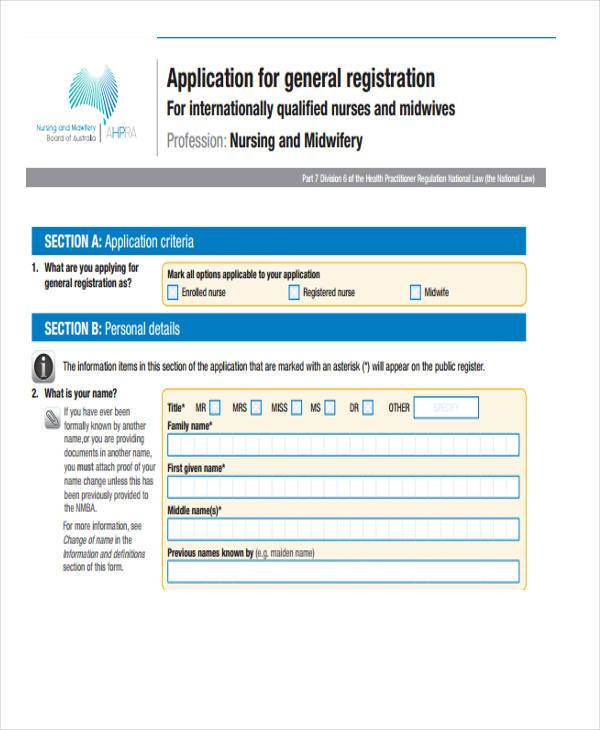 application general registration nursing form