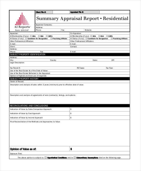 Summary appraisal report example