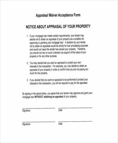 appraisal waiver acceptance form