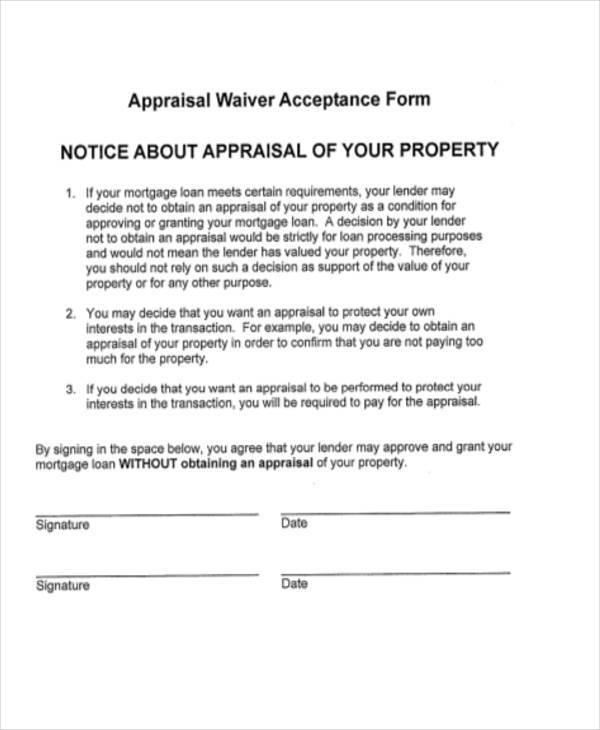 appraisal waiver acceptance form1