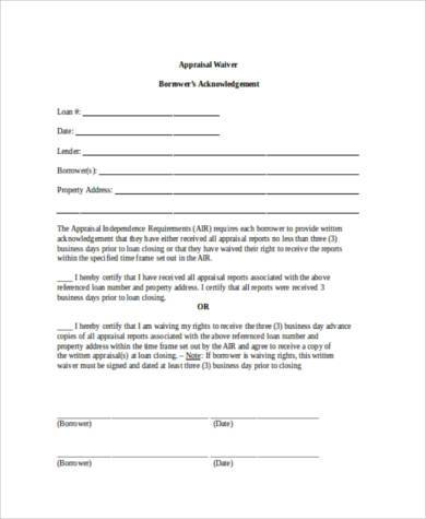 appraisal waiver form in word format