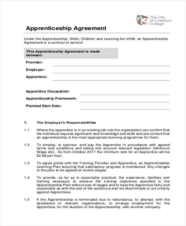 apprenticeship agreement form example