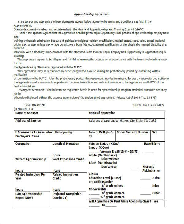 apprenticeship agreement form in word format