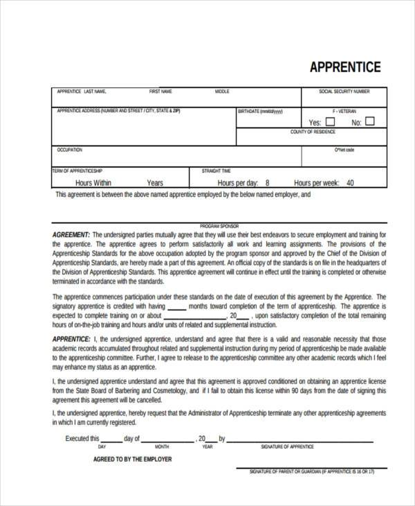 tattoo apprentice contract template Sample Contract Registration Form - Free Documents in Word, PDF
