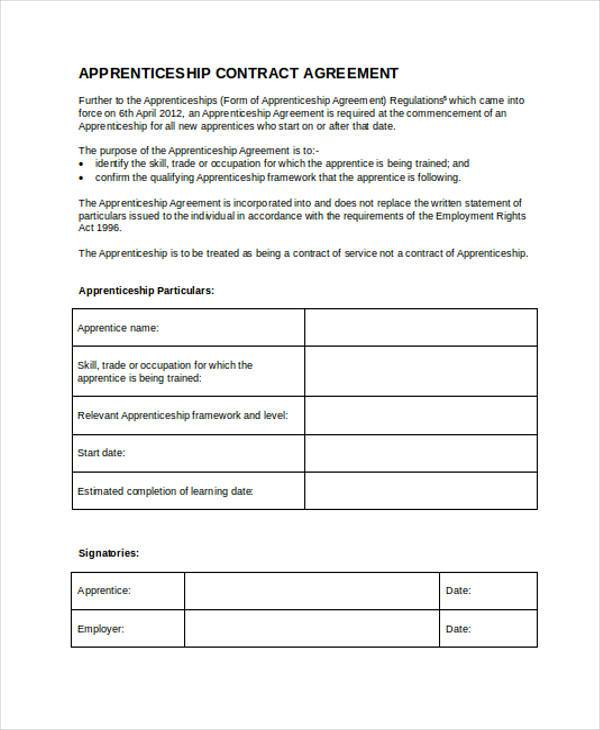 apprenticeship contract form in doc