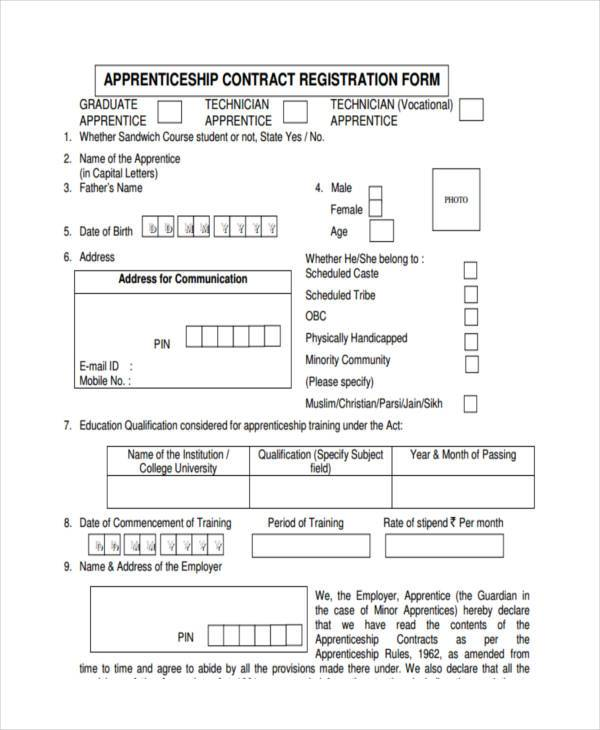 Sample contract registration form free documents in word for Tattoo classes online free