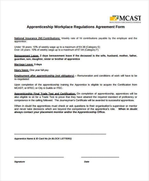 apprenticeship workplace agreement form
