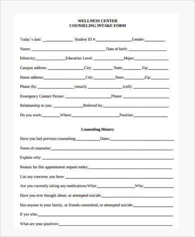 Sample School Counseling Forms   Free Documents In Pdf