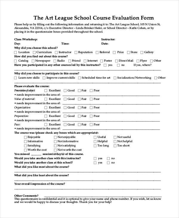 Evaluation Form Templates – Workshop Evaluation Forms