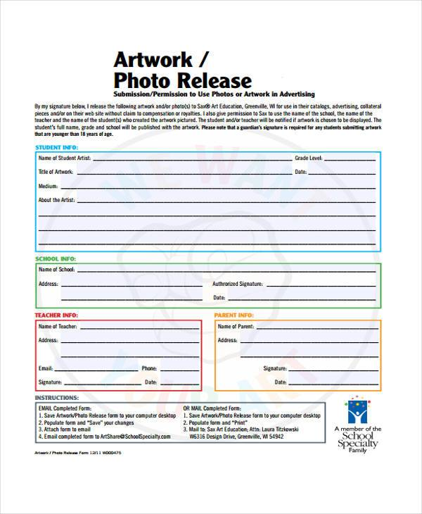 artwork photo release form