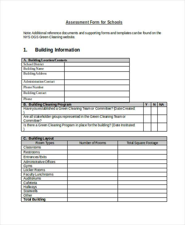assessment form for schools