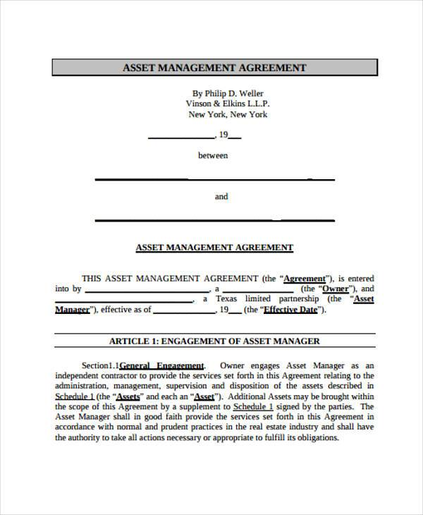 7+ Asset Agreement Form Samples - Free Sample, Example Format Download