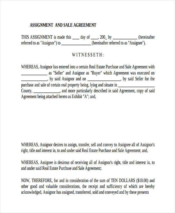 10+ Assignment Agreement Form Samples - Free Sample, Example