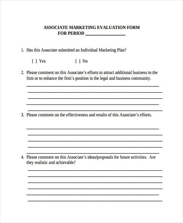 Marketing Evaluation Form Samples  Free Sample Example Format