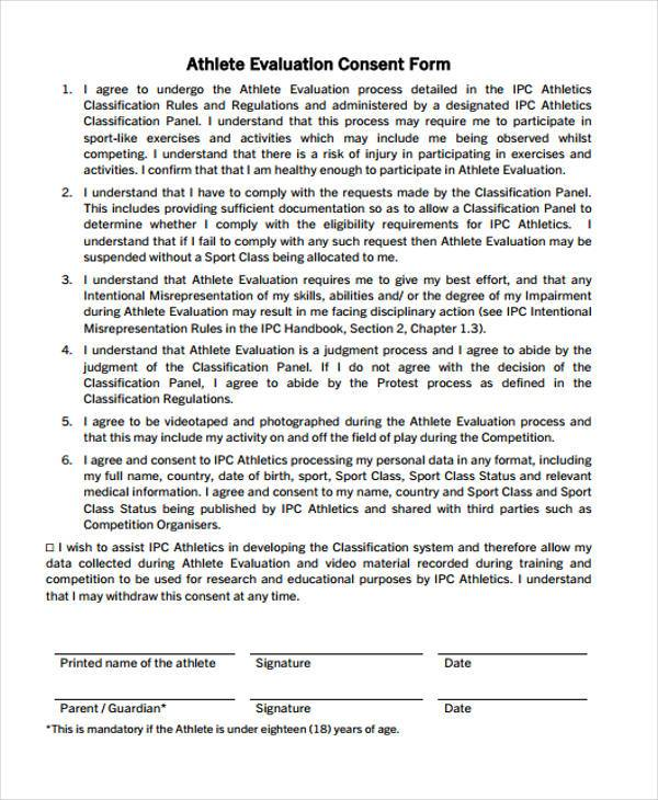 athlete evaluation consent form